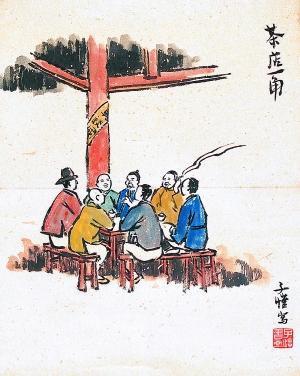 南方茶社手绘图