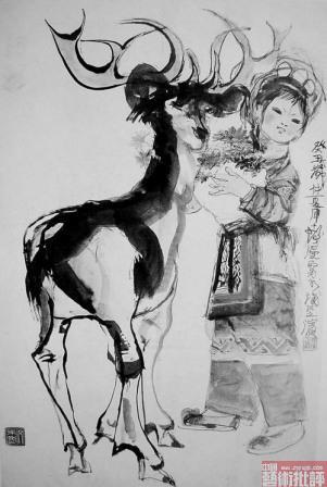 程十发作品《少女与鹿》辨伪