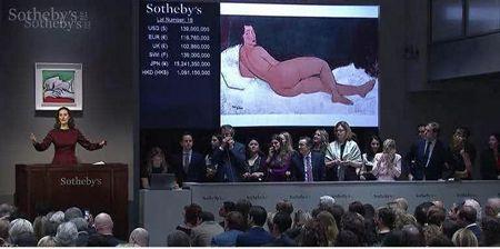 《向左侧卧的裸女》1.57亿美元成交 成为苏富比最高价拍品