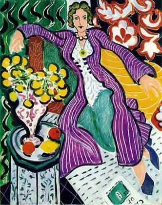 马蒂斯《穿紫色外套的女人》